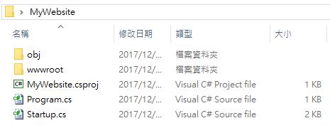 [鐵人賽 Day01] ASP.NET Core 2 系列 - 從頭開始 - 專案目錄