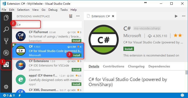 [鐵人賽 Day01] ASP.NET Core 2 系列 - 從頭開始 - VS Code C# 擴充套件