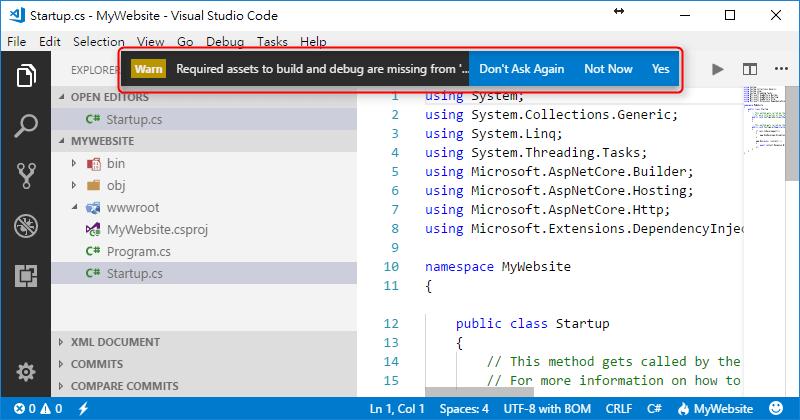 [鐵人賽 Day01] ASP.NET Core 2 系列 - 從頭開始 - VS Code 開啟專案