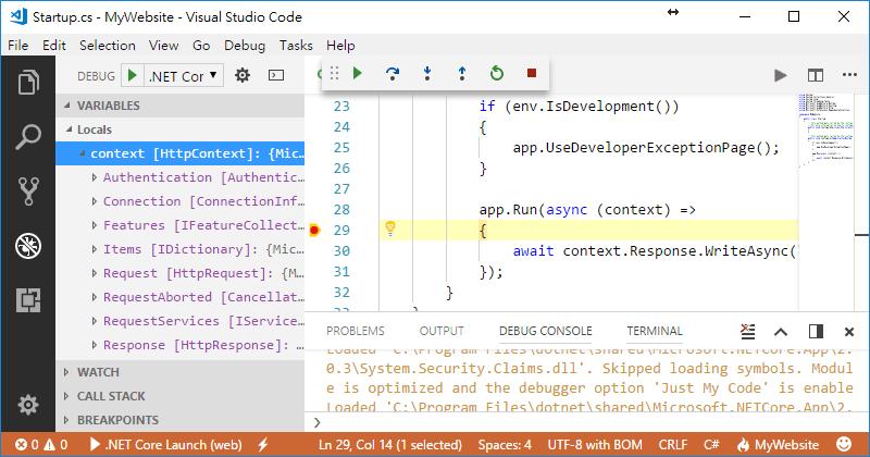 [鐵人賽 Day01] ASP.NET Core 2 系列 - 從頭開始 - VS Code 中斷點除錯