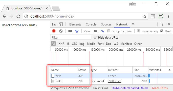 [鐵人賽 Day08] ASP.NET Core 2 系列 - URL 重寫 (URL Rewrite) - URL 重寫 - HTTP Status Code 302 範例結果