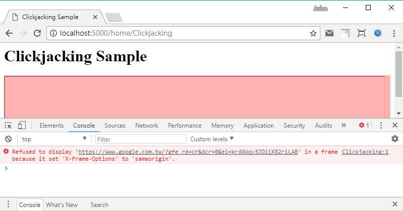 [鐵人賽 Day27] ASP.NET Core 2 系列 - 網頁內容安全政策 (Content Security Policy) - X-Frame-Options