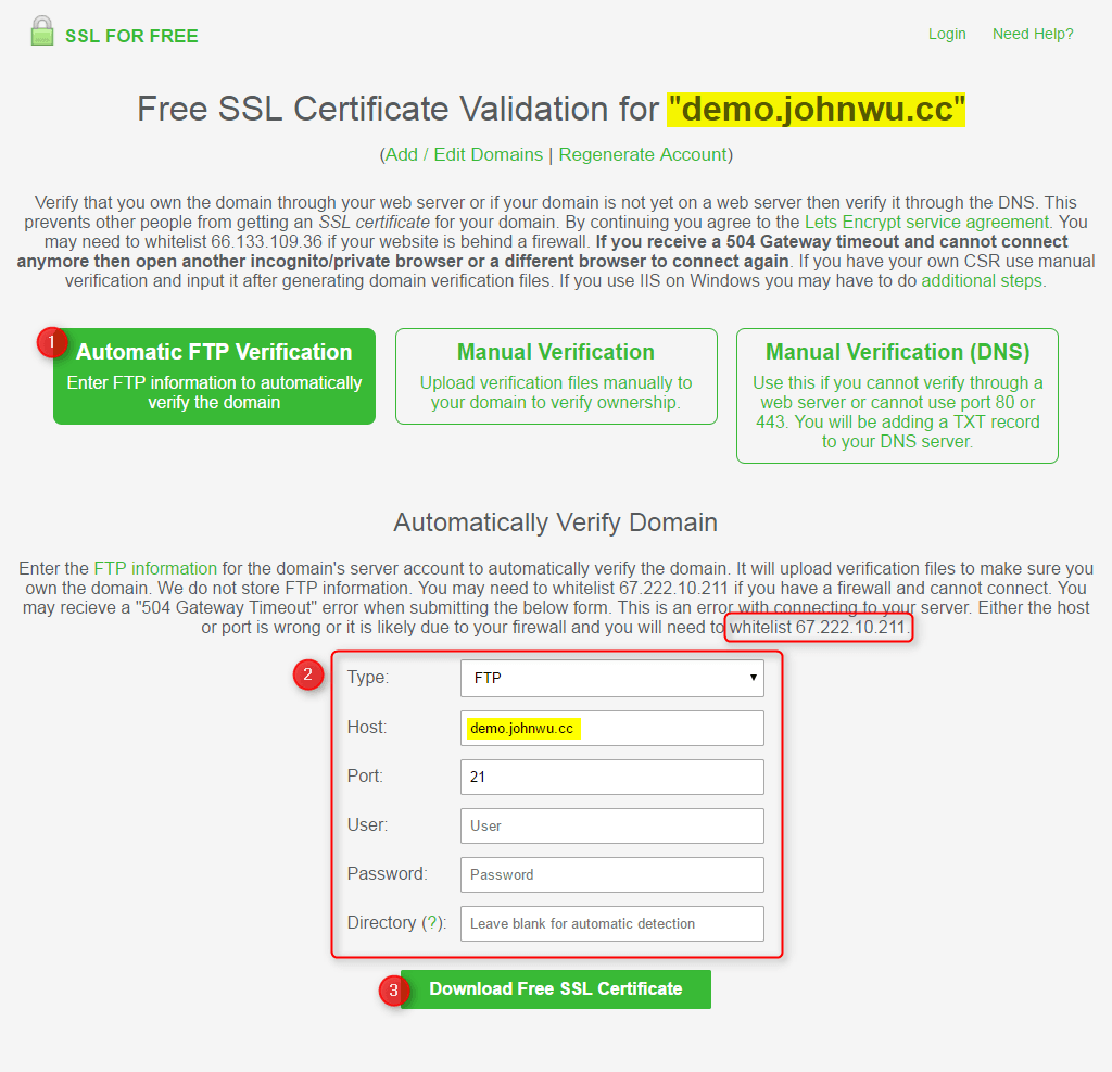 免費 SSL 申請 - FTP Validation