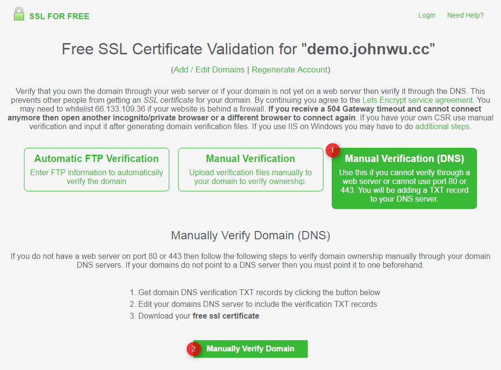 免費 SSL 申請 - DNS Validation - 1